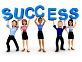 people holding up the word success