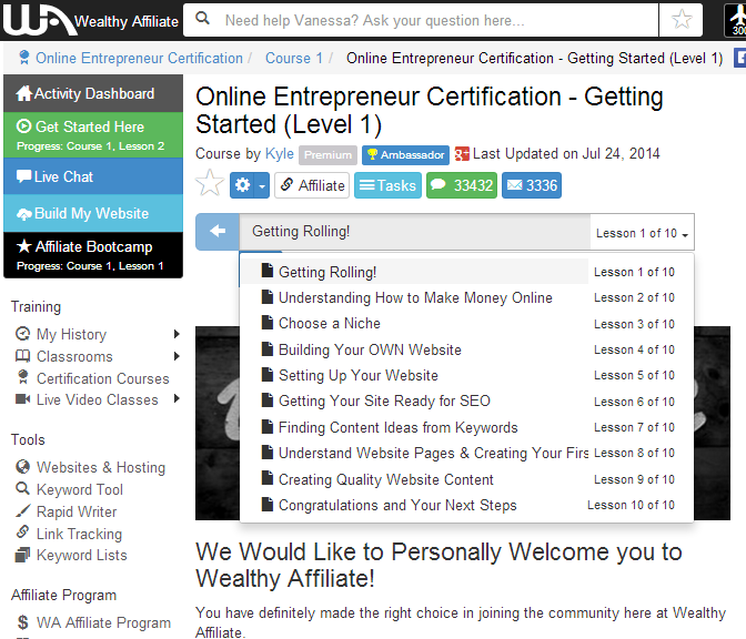 Wealthy Affiliate online entrepreneur certification