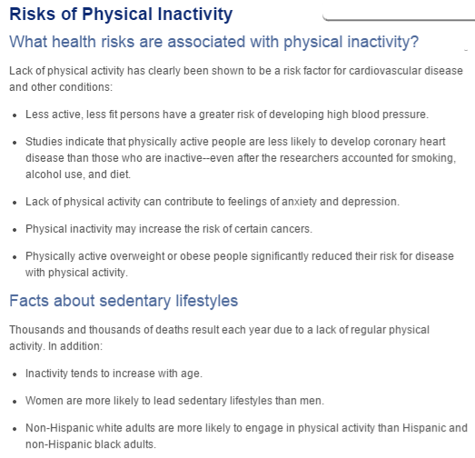 a summary of the risks of physical inactivity according to Johns Hopkins