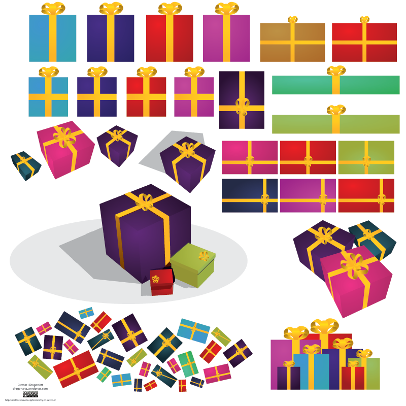 a variety of gifts wrapped