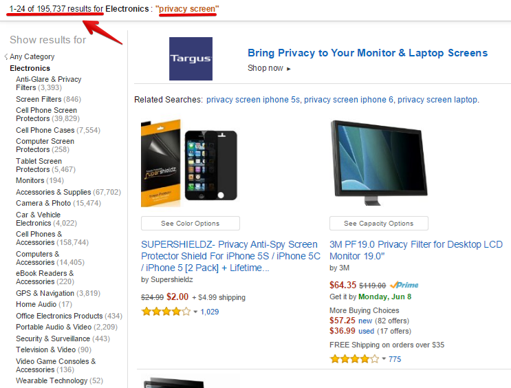 What Amazon.com is about and some product listings for electronics-privacy-screen