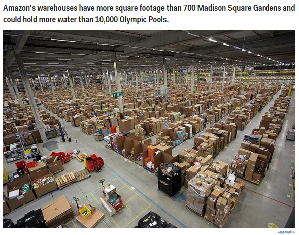The warehouse of Amazon.com