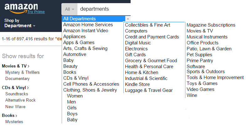 Departments and services offered at Amazon.com