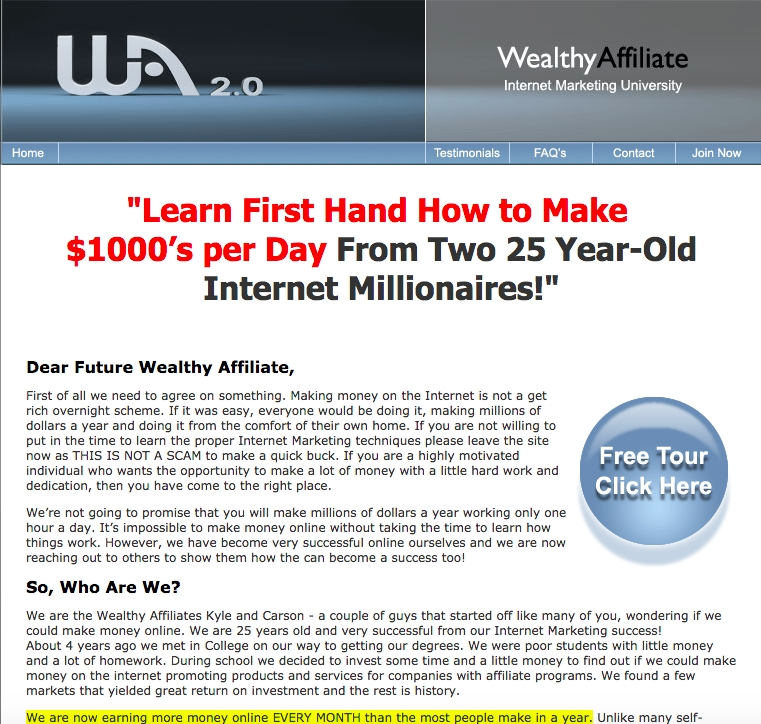 Take the Wealthy Affiliate Tour