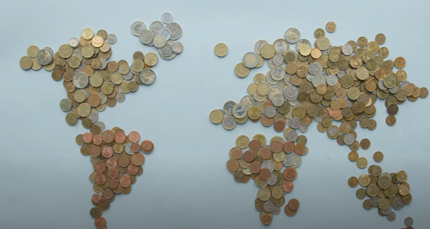 Coins in the shape of a globe